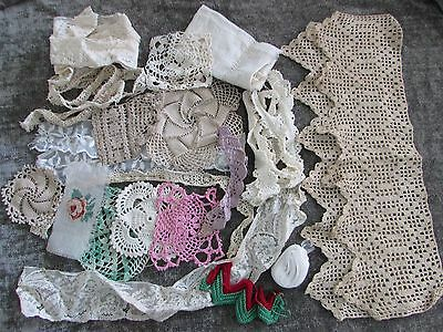 Vintage Antique Tatting Lace Crochet Trim Edgings Lot for Doll Clothing, Crafts