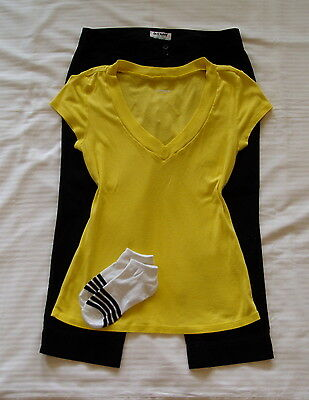Womens Outfit 3 Pc Lot Express Top L Old Navy Black Capri's 10 Socks