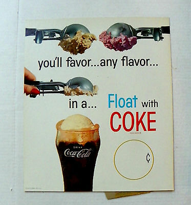 """1960' """"drink Coca-Cola ~ Float With Coke"""" Cardboard Counter Stand Up Sign"""