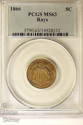1866 With Rays Shield Nickel PCGS MS63 First Year