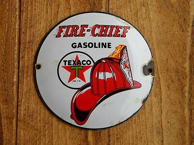 """Texaco Fire Chief Porcelain Metal Sign~4-3/4"""" Gasoline Oil Pump Gas Advertising"""