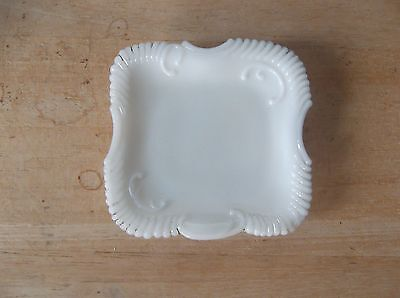 Small Vintage Milk Glass Square Trinket Tray or Creamer Underplate