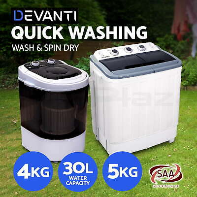 Mini Portable Washing Machine Top Load 2-in-1 Spin Camping Caravan Home 4kg 5kg