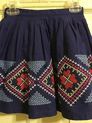 *MINI BODEN* Girls Blue Skirt with Embroidery Size 7-8