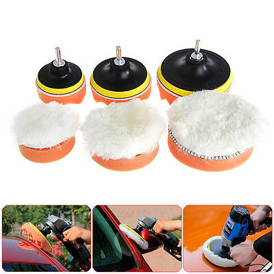5Pcs 3/4/5 inch M10 Sponge Waxing Buffing Polishing Pad Kit with Drill Adapter
