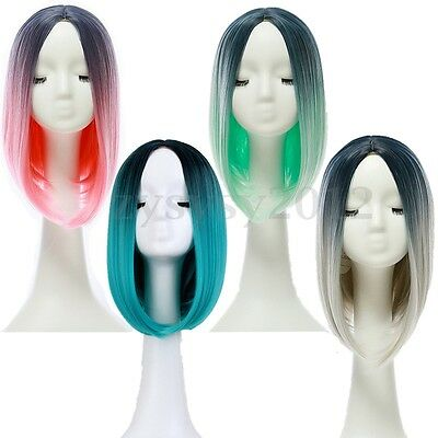 Heat Resistant Synthetic Lace Front Ombre Wigs Straight Long Bob Cosplay Hair UK