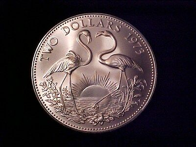 Bahamas $2 Dollars Silver Crown 1973 Gem Bu Matte Flamingos Nice