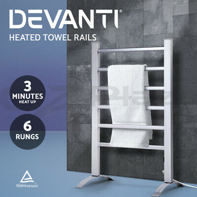 Electric Heated Towel Rails Freestanding Warm Rack 6 Aluminium Bar Rung Bathroom