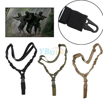 One Single Point Rifle Hunting Sling Bungee Tactical Airsoft Strap Adjustable EB