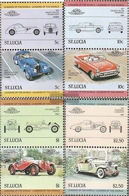 St. Lucia 652-659 Couples mint never hinged mnh 1984 Cars