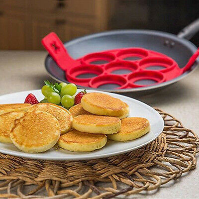 Red Silicone Porous Home Pancakes with 7 Holes Omelette Device Kitchen Tools