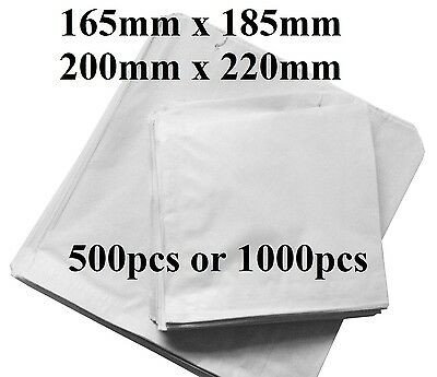 500 or 1000pcs White Sulphite Strung Paper Food Bags for Sandwiches Groceries