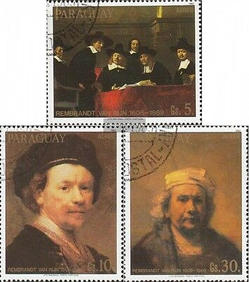Paraguay 3593-3595 fine used / cancelled 1983 Paintings of Rembrandt
