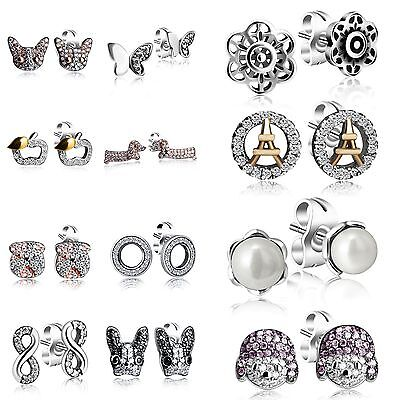 Pearl Zircon Ear Stud Earrings Animal Eiffel Tower Theme 925 Silver Jewelry Gift