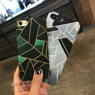 New Fashion Geometric Graphic Hard PC Phone Back Case For iPhone 6 6s 7 8 plus X
