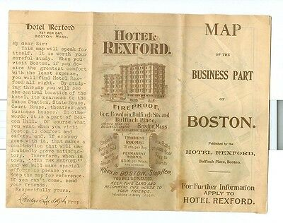 1899 Hotel Rexford Map of Boston Business District