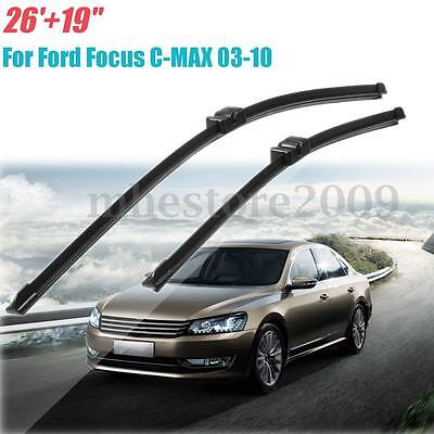 """Pair 26"""" & 19"""" Front Windscreen Wiper Blades RH Drive For Ford Focus C-MAX 03-10"""