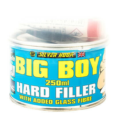 Silver Hook Hard Filler Repair Car Home Boat Added Fibre Glass Hardener 250ml
