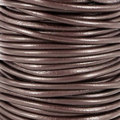 5M of 3mm Round Smooth Real Leather BLACK BROWN Thong-ing. Genuine Leather