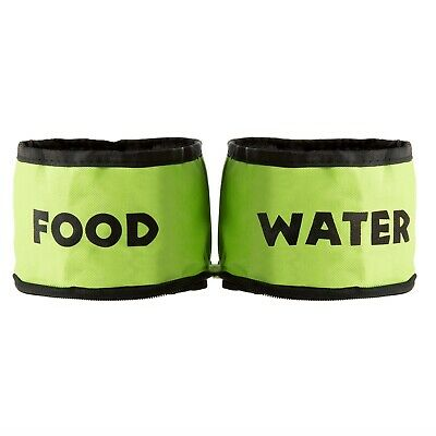 Collapsible Travel Pet Food and Water Bowls for Dogs or Cats Neon Colored