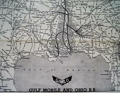 Gulf Mobile & Ohio Railroad Routing Chart & System Route Map Vintage Trains