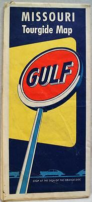 GULF OIL SERVICE STATION MISSOURI HIGHWAY ROAD MAP 1950s VINTAGE TRAVEL