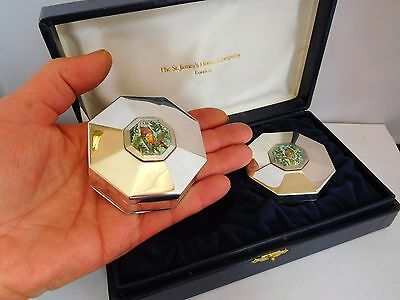 Stunning Pair Of Vintage English Sterling Silver And Enamel Boxes - Cased