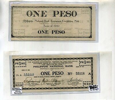 1942 Philippines 1 Peso Currency National Bank Note Au 8666E