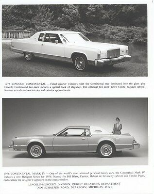 1976 Lincoln Continental ORIGINAL Factory Photo oub2866