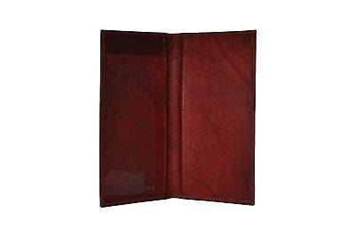 Real Leather Plain Checkbook Cover BROWN- NEW