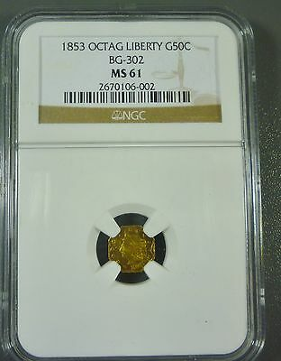 1853 Octagon 50C Peacock Reverse 50 Cents BG-302 Low R.4 MS61 NGC