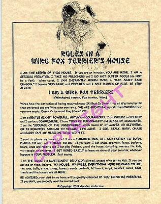 Rules In A Wire Fox Terrier's House