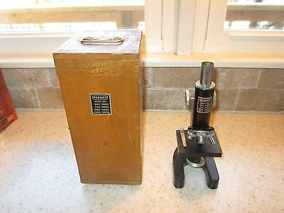 VINTAGE Perfect Model 805 Black Microscope w/ Wooden Case