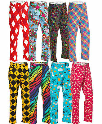 Golf Trousers by Royal and Awesome NEW 2017 Range Funky Crazy Loud Bright Pants