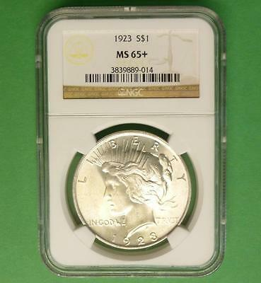1923 NGC MS65 + Silver Peace Dollar, Blazing Gem MS 65 Plus Silver $1 Coin
