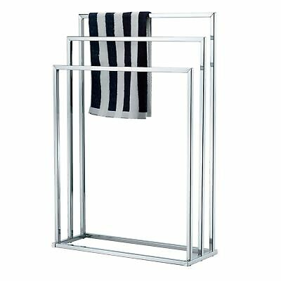 Three Tier Towel Holder Free Standing Chrome Bathroom 3 Rail Rack Stand New