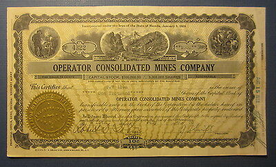 Old Vintage 1933 OPERATOR CONSOLIDATED MINES - Nevada Mining Stock Certificate