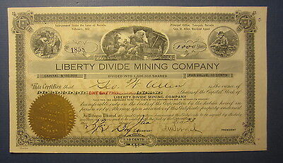 Old Vintage 1923 LIBERTY DIVIDE Mining Co. NEVADA  Stock Certificate - Tonopah