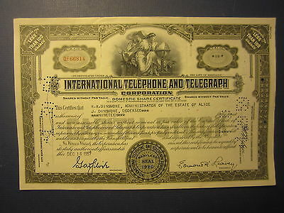 Old 1957 IT&T International TELEPHONE and TELEGRAPH - Stock Certificate