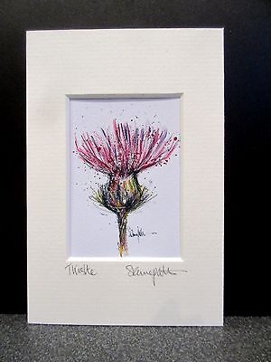 Thistle. Mini art print from an original painting by Suzanne Patterson