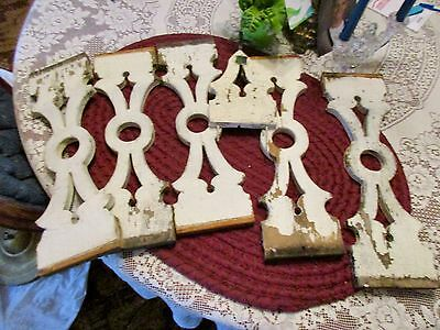 "Shabby Chic 19Th Century 5 Porch Balusters 6 X19"" +1 Folk Art Metal Cross Piece"
