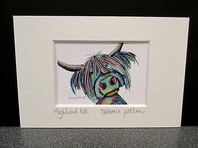 Highland Coo!.  Mini art print from an original painting by Suzanne Patterson.XX