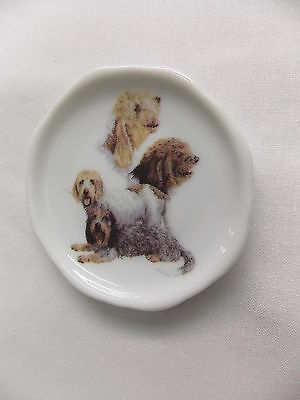 Pettis Basset Griffon Vendeen Dog 3 View Porcelain Plate Magnet Fired Decal- 56