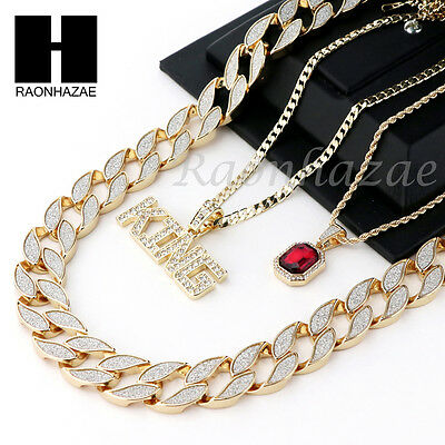 """Iced Out Ruby King Pendant 24"""" 30"""" Cuban Link Rope Cuban Chain Necklace Set D012"""