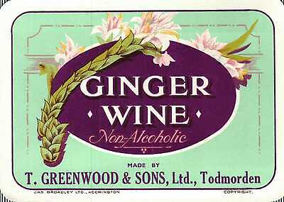 Vintage label T. Greenwood & Sons Ginger Wine soda Drink