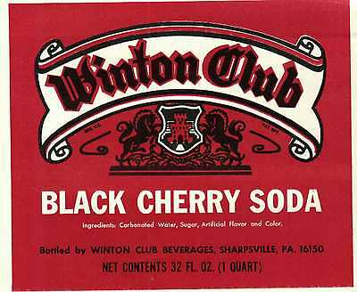 Vintage label Winton Club Black Cherry Soda Sharpsville PA quart