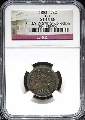1853 Braided Hair Half Cent 1/2C Ngc Certified Xf 45 Bn Extra Fine Brown (068)