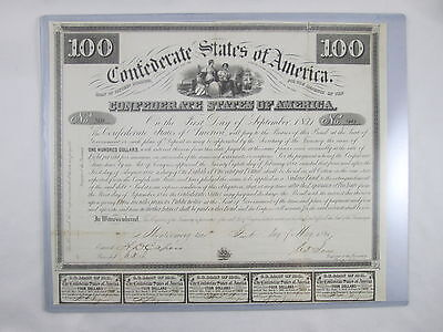 1861 $100 Confederate States of America Bond with 5 Coupons Attached Antique NR!