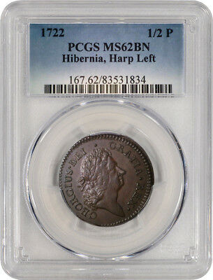 1722 1/2P William Wood Hibernia Halfpenny Type 1 Harp Left PCGS MS62 BN