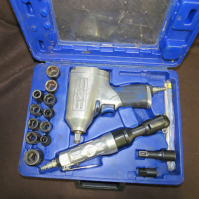 Central Pneumatic Air Impact Wrench and Ratchet Set with 13 extensions & sockets